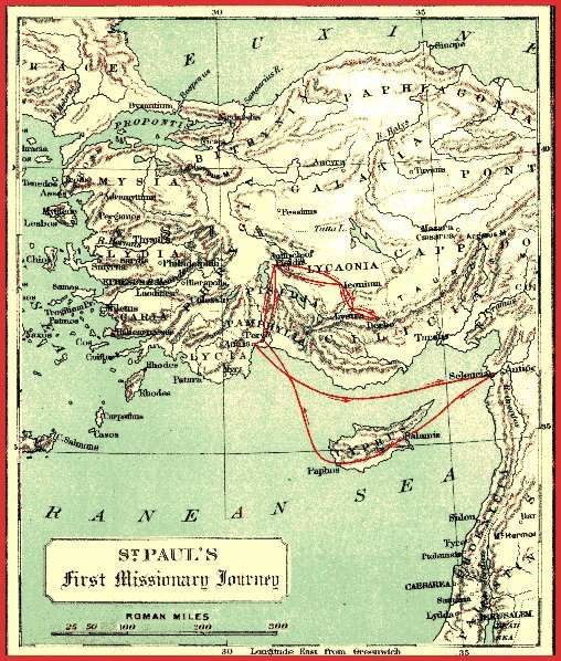 Mapt of First Missionary Journey